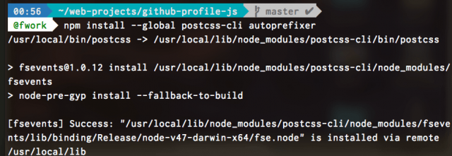 install PostCSS and Autoprefixer in terminal